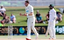 New Zealand's Tim Southee (C) celebrates the wicket of Pakistan's Haris Sohail on the fourth day of the first cricket Test match between New Zealand and Pakistan at the Bay Oval in Mount Maunganui on 29 December 2020. Picture: AFP