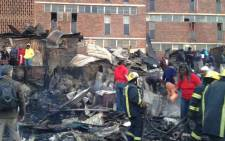 13 shacks caught alight on 25 June, 2012, behind the Helen Joseph Hostel in Alexandra, Johannesburg. Picture:Jacob Moshokoa/EWN
