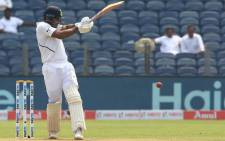 India's Mayank Agarwal brings up his 100 against South Africa on the first day of the second Test in Pune, India on 10 October 2019. Picture: @BCCI/Twitter
