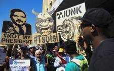 Anti-President Jacob Zuma protesters marched from Keizersgracht street to Parliament. Picture: Cindy Archillies/EWN.