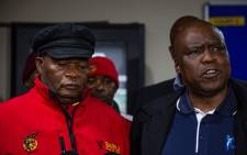 Cosatu secretary general Solly Phetoe (L) and Sasbo's secretary general Joe Kokela. Picture: Kayleen Morgan/EWN.