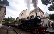 A steam locomotive readies to depart from the Vatican's train station to the pope's summer home of Castel Gandolfo on 11 September 2015 in Vatican City. Picture: AFP