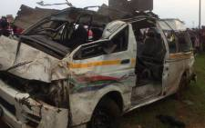 A taxi crash which killed five in Westonaria. Picture: Arrive Alive.