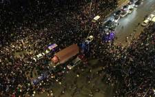 A stampede killed at least 35 people during New Year's Eve celebrations in Shanghai. Picture: Twitter @JulieSheats.