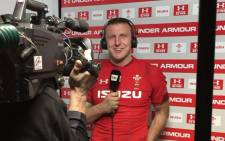 New Zealand-born centre Hadleigh Parkes addressing the media after Wales' clash against South Africa. Picture: @WelshRugbyUnion/Twitter.