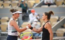 Barbora Krejcikova and Maria Sakkari after their French Open semifinal match on 10 June 2021. Picture: @rolandgarros/Twitter