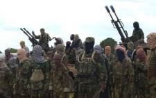 Members of the Somalian militant group al-Shabaab in a screengrab from a video.