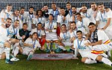 Real Madrid players celebrate winning the Fifa Club World Cup title on 16 December 2017 in Abu Dhabi. Picture: @realmadrid/Twitter