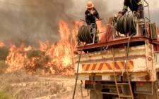 Franschhoek fire blazing on