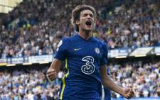 FILE: Chelsea defender Marcos Alonso celebrates after scoring his team's first goal during the English Premier League football match between Chelsea and Crystal Palace at Stamford Bridge in London on 14 August 2021. Picture: Glyn Kirk/AFP