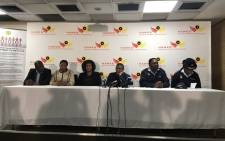 Police Minister Fikile Mbalula and other law enforcement officials welcome home trafficking victim Princess Mahlangu at the OR Tambo International Airport. Picture: @FikileMbalula.