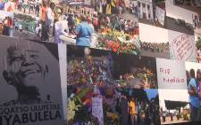 A mural of condolence messages and pictures from people across the world following the passing of Nelson Mandela which is on display as part of the 'In Tribute to Neslon Mandela' exhibition in Johannesburg. Picture: Reinart Toerien/EWN