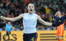 File: Match winner: Andres Iniesta celebrates after scoring for Spain in the 2010 FIFA World Cup final at Soccer City on 11 July. Spain beat Holland 1-0. Picture: AFP