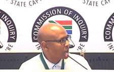 A YouTube screengrab shows former government communications CEO Mzwanele Manyi at the state capture inquiry on 6 November 2019. Picture: SABC Digital News/youtube.com