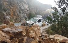 Mark Thackwray had a narrow escape over the weekend after he found himself trapped in a life-threatening rock fall on Franschhoek Pass. Picture: SA Emergency Reports/Twitter.