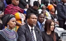Mandla Mandela and his wife Nosekeni Rabia Mandela are seen at the memorial service for Winnie Madikizela-Mandela at Orlando Stadium. Picture: Ihsaan Haffejee/EWN.
