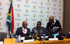 Police Minister Nathi Mthethwa and Police Commissioner Riah Phiyega at the announcement of the 2011/2012 crime statistics. Picture: Rahima Essop/EWN.