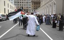 Local protesters made their way to Parliament in Cape Town. The marchers called for the downgrading of South Africa's embassy in Israel. Picture: Cindy Archillies