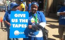 FILE: Democratic Alliance members chanting outside the High Court in Pretoria as they wait for Zuma spy tapes to be handed to the party on 4 September 2014. Picture: Twitter via DA News.