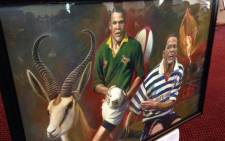 A painting inside the church portraying Tinus Linee during his playing days in the 1990s. Picture: Rafiq Wagiet/EWN.