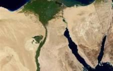 the fertile valley of the Nile River runs northward through Egypt