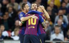 Barcelona's Lionel Messi and teammates celebrate a goal against Tottenham during their UEFA Champions League clash on 3 October 2018. Picture: @FCBarcelona/Twitter
