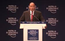 Jacob zuma speaking at the World Economic Forum on Africa in Durban. Picture: Kgothatso Mogale/EWN