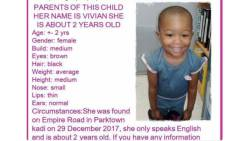Vivian was found on Empire Road on 29 December 2017. Picture: Supplied.