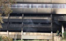 The third-floor parking at the Charlotte Maxeke Academic Hospital collapsed following a fire that began on Friday, 16 April 2021. Patients were moved and the hospital was closed for seven days. Picture: Twitter/@GautengProvince