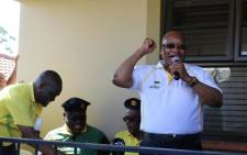 Former President Jacob Zuma addresses supporters in Lamontville during ANC campaign trail. Picture: @MYANC/Twitter.