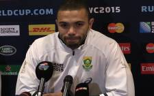 Springbok winger Bryan Habana speaks to the media during a press conference in Guilford, England. Picture: Vumani Mkhize/EWN.