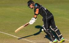 New Zealand's Will Young plays a shot during a warm-up cricket against Australia in Brisbane on 8 May 2019. Picture: AFP