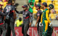 FILE: South Africa's Quinton de Kock walks away after losing a wicket to UAE during the last Pool B match of the Cricket World Cup on 12 March 2015. Picture: CWC.