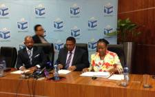 New chairperson of the Independent Electoral Commission Vuma Mashinini (seated in the middle). Picture: Masego Rahlaga/EWN.