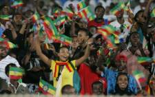 Ethiopia's national football team supporters wave flags. Picture: AFP