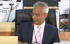 A screengrab of Anoj Singh giving evidence at the state capture inquiry on 18 March 2021. Picture: SABC/YouTube