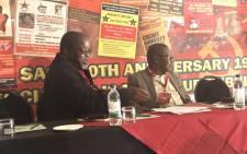 ANC's Gwede Mantashe and SACP leader Blade Nzimande. Picture: Clement Manyathela/EWN.