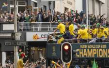 The team's bus malfunctioned on its way to Langa, in the Western Cape, but it wasn't long before the Boks resumed their parade. Picture: Ahmed Kajee/EWN.