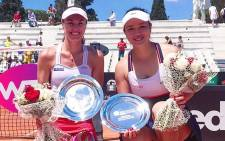 Martina Hingis and her doubles partner Chan Yung-jan. Picture: @mhingis/Twitter