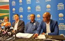 The DA's federal council chairperson Helen Zille, interim leader John Steenhuisen, interim federal chairperson Ivan Meyer and national spokesperson Solly Malatsi pictured on 17 November 2019. Picture: @Our_DA/Twitter