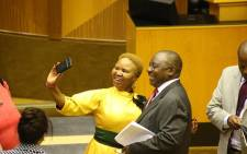 FILE: South African President Cyril Ramaphosa is congratulated by ANC minister Lindiwe Zulu after being elected by the Members of Parliament in Cape Town, on 15 February 2018. Picture: Bertram Malgas/EWN.