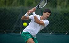 Serbia's Novak Djokovic practices on the Aorangi Practice Courts at The All England Tennis Club in Wimbledon, south-west London, on June 27, 2021, ahead of the start of the 2021 Wimbledon Championships tennis tournament. Picture: AELTC/David Gray/POOL/AFP