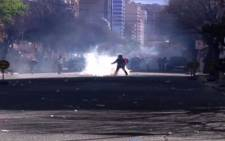 Striking miners clash with police in Bolivia.Picture :screengrab /CNN