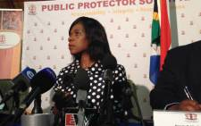 Public Protector Thuli Madonsela addresses media on her Nkandla report in Pretoria on 4 December 2013. Picture: Reinart Toerien/EWN.