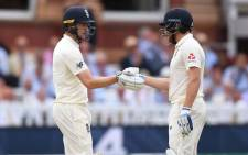 Jonny Bairstow and Chris Woakes celebrate their partnership on the third day of the second Test at Lord's between England and India. Picture: @englandcricket/Twitter.