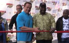Arnold Schwarzenegger and Gauteng Premiere David Makhura cut the ribbon to Arnold classic Africa 2016 at the Sandton convention centre.