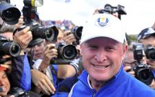 Jamie Donaldson of Wales celebrates after Europe won the 2014 Ryder Cup at Gleneagles in Scotland. Picture: AFP.