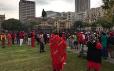 Economic Freedom Fighters supporters are pictured at Church Square in Pretoria ahead of an anti-Zuma march  on 12 April 2017. Picture: Barry Bateman/EWN.
