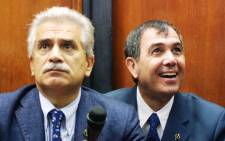 Italian Professor Severino Antinori (L), Professor of Reproductive Physiopatology at the Rome's University and Panayiotis Zavos (R) Director Andrology Institute of America. Picture: AFP.