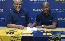 Madibaz Sport football manager Mark Tommy (left) and Elrio van Heerden. Picture: Madibaz Football Club